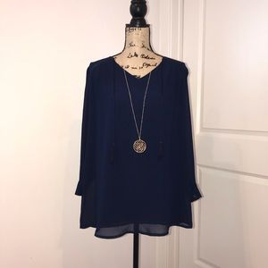 ASTR The Label Navy Blouse